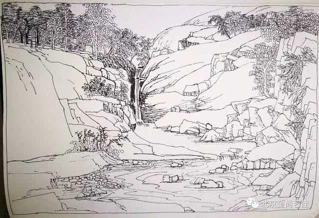 山水景观钢笔手绘