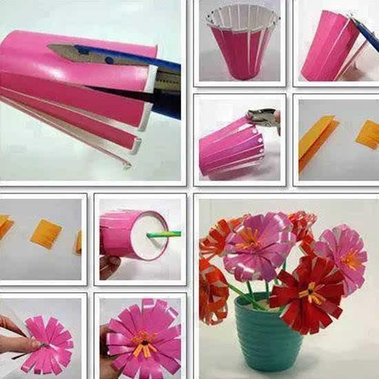 一次性纸杯手工制作墙面装饰太阳花教程