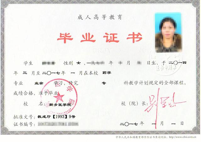 河南中医学院函授毕业证的用途(附样本)