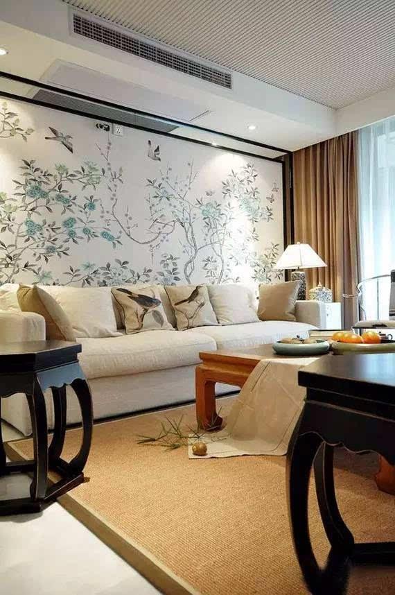 现代风格搭配 时尚简约的壁纸,地板是选用深色木材系列,床的软装搭