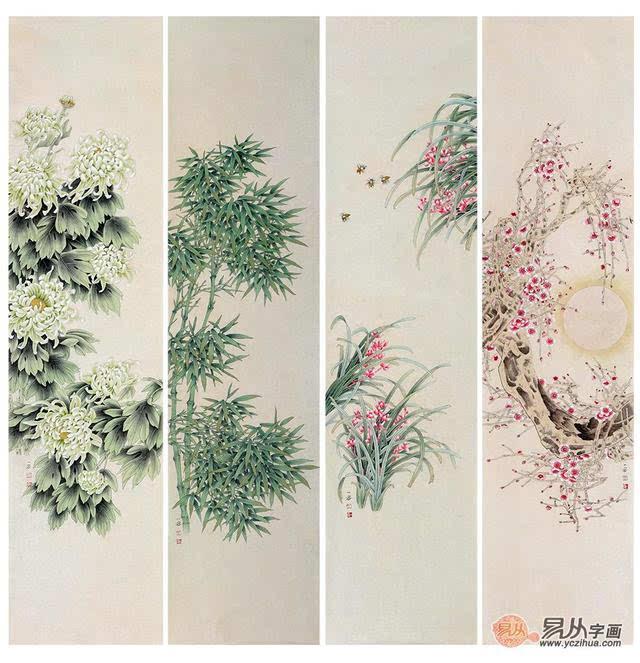 梅兰竹菊四条屏易从网工笔画-工笔梅兰竹菊四条屏