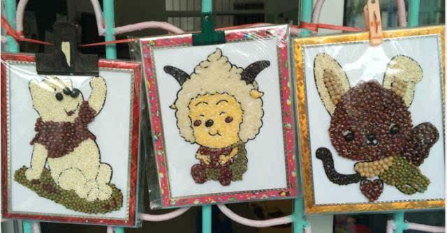 幼儿园手工 : 豆子画图片