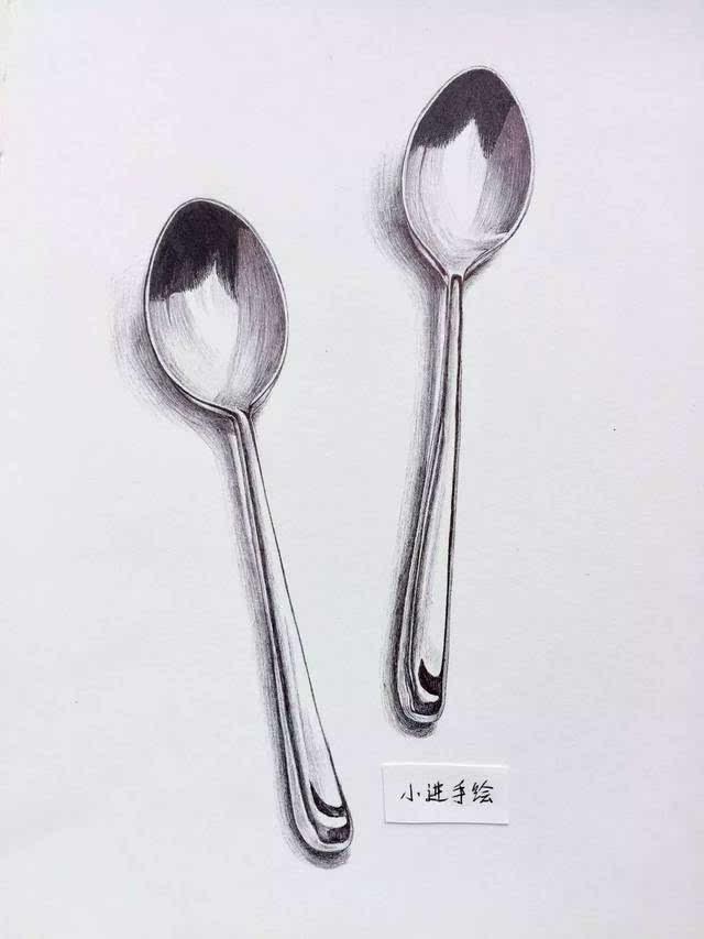 圆珠笔教程 | 零基础画两个小勺子
