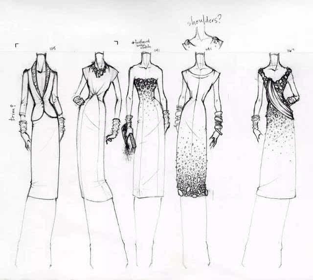 (服装概念效果图) 设计师手绘出服装效果图 再根据效果图,设计出衣服