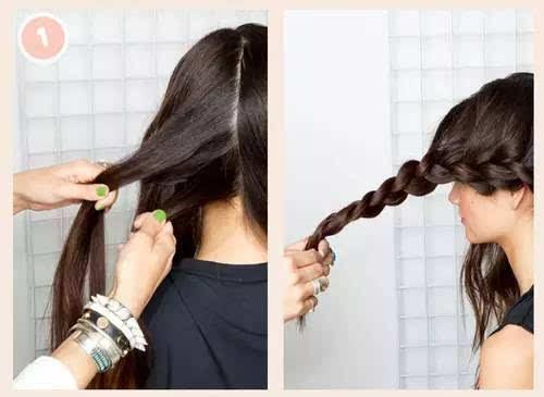 法国辫_step  :首先,将头发分为左右两部分,从后往前编法国辫.
