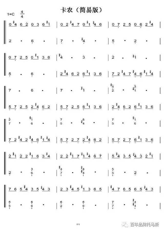 世界钢琴名曲卡农简谱钢琴曲电子版c调超简单版几分钟学会 简单快速图片