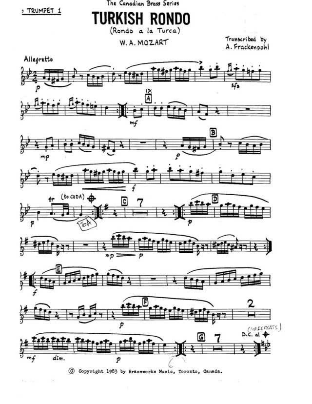 附谱子!莫扎特土耳其进行曲铜管五重奏