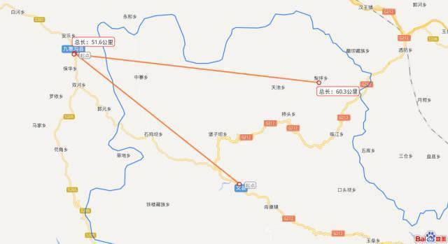 """百度地图上文县, 文县梨坪镇和九寨沟县的位置 """"震""""后的文县乡镇 三"""