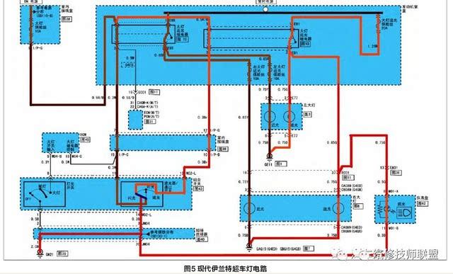 北京现代伊兰特轿车前照灯故障分析及电路详解
