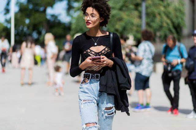 學生姊的蜓_姊穿得是性感明星超模的破洞穿搭超时尚!