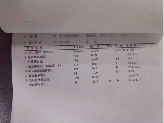 500xxxcom_门诊患者xxx,男,55岁,d-dimer=95ng/ml 500 ng/ml,经检查排除vte