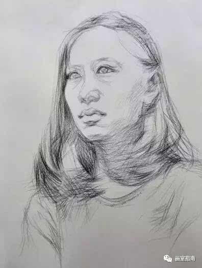 理女人侧面顶光素描人像图片