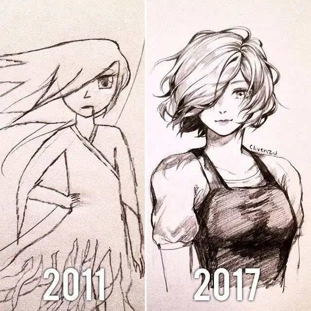 6年前与6年后,他的手绘动漫大对比!