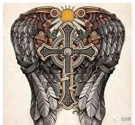 翅膀纹身 自由的象征图片