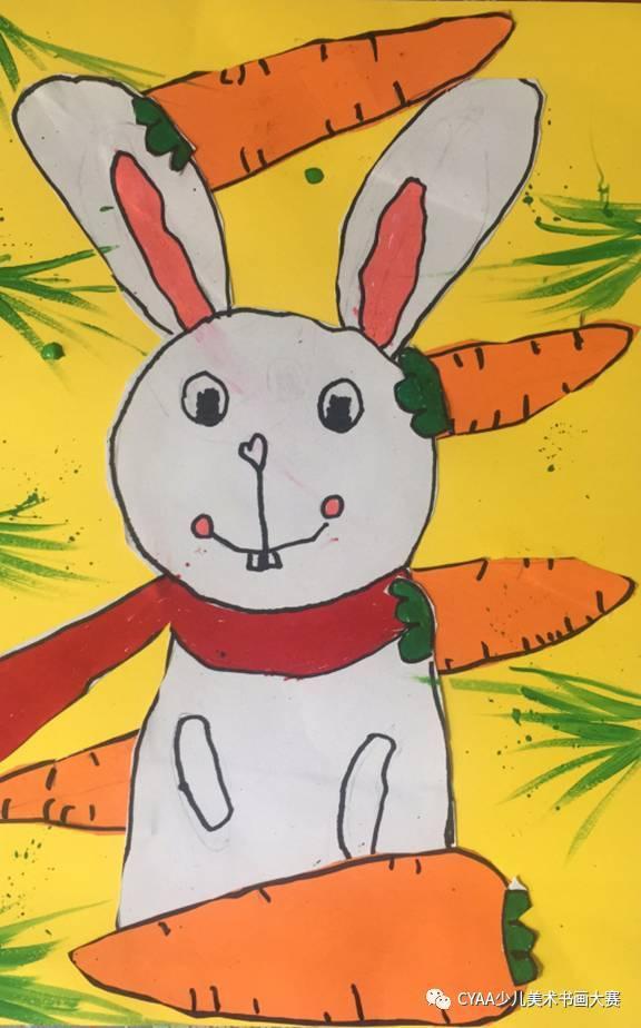 《可爱的小兔子》 指导老师:黄媛婷 j783806006 黄泉瑞 7岁 男 蜡笔画