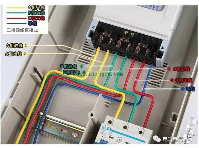 三相电能表接线示意