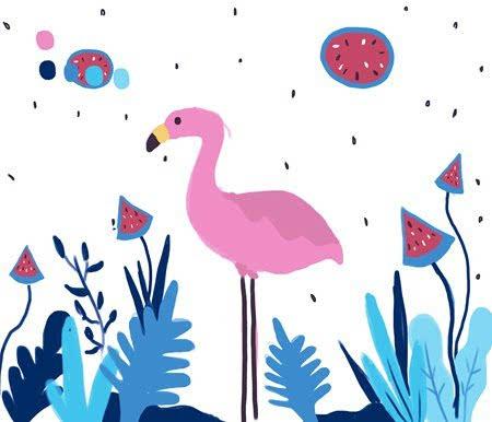 让人少女心爆棚的粉色火烈鸟家居墙绘-时尚频道-手机图片