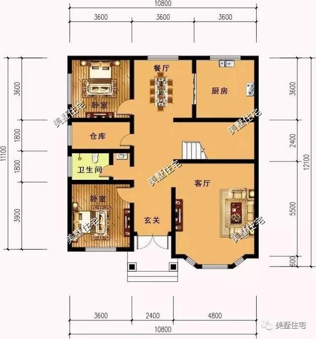 一层平面图:玄关,客厅,2卧室,厨房,餐厅,仓库,卫生间