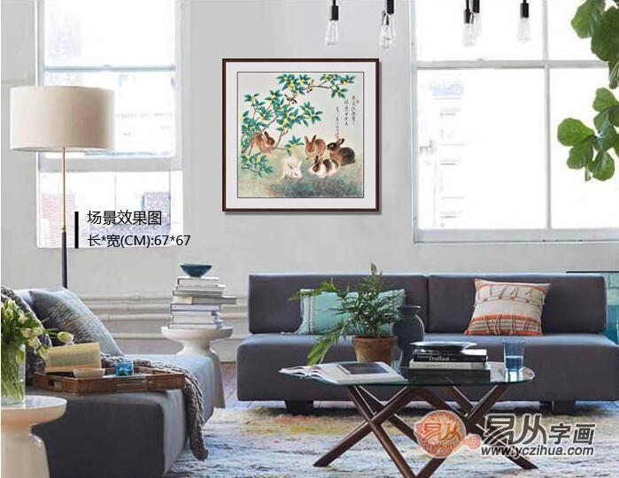 工笔画鹰兔子-动物画作为装饰画挂在客厅,彰显的是一种时尚,同时还为生活添加了