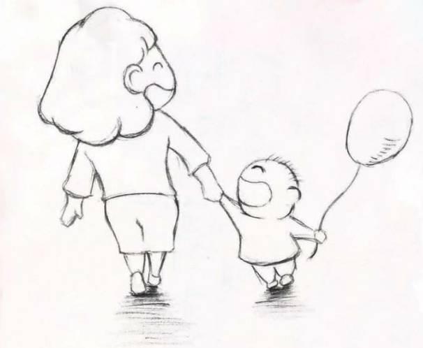 母爱简笔画-这是一条超有心的消息