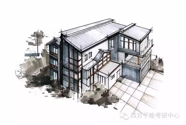 黑白鸟瞰建筑手绘