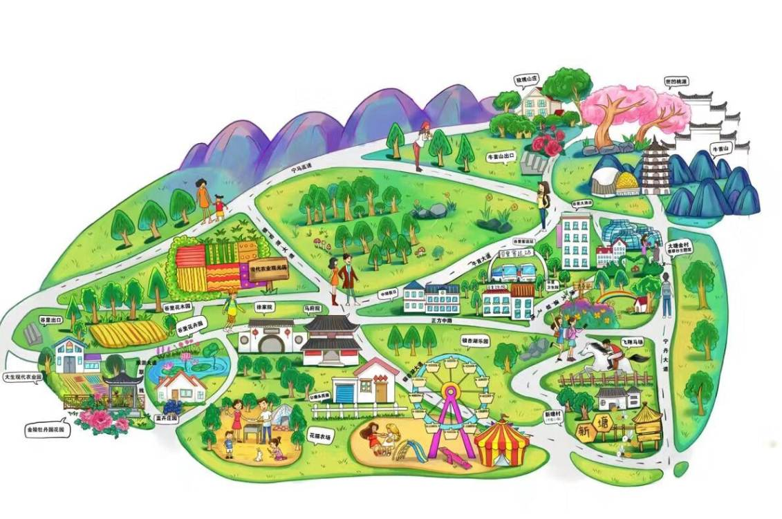 西湖风景手绘地图