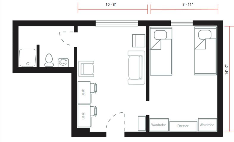 双人宿舍平面图手绘