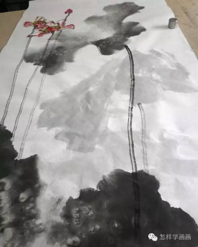 大写意水墨荷花画法教程图文步骤