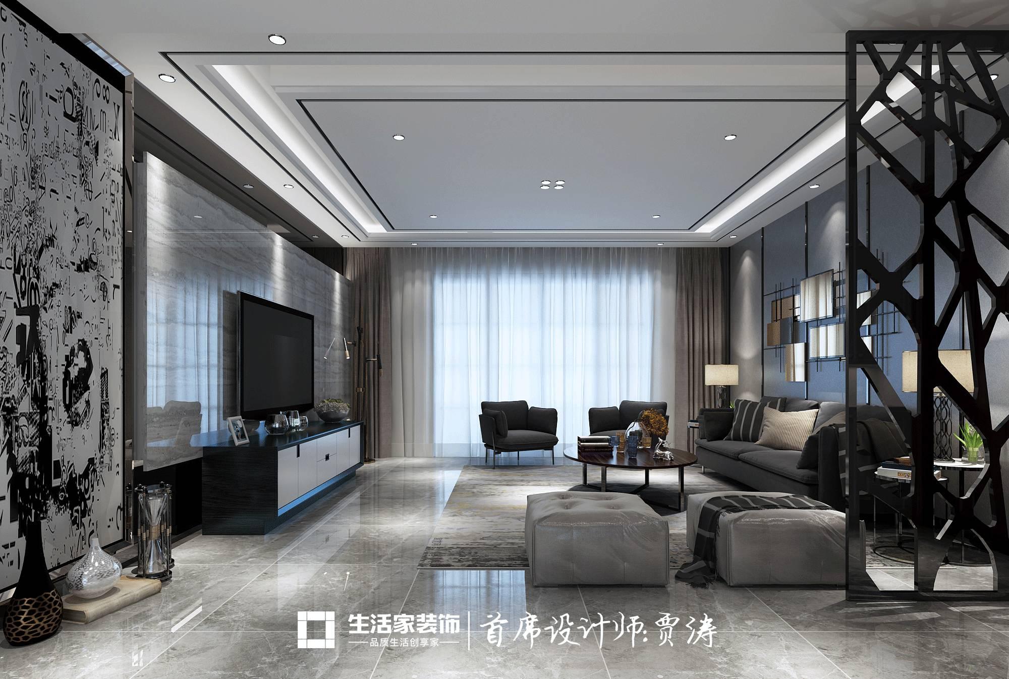 在后现代风格家居的空间 黑白灰三种色彩能给人跳跃视觉效果 高纯