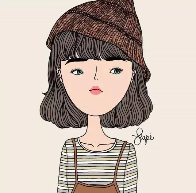 文艺手绘卡通姑娘