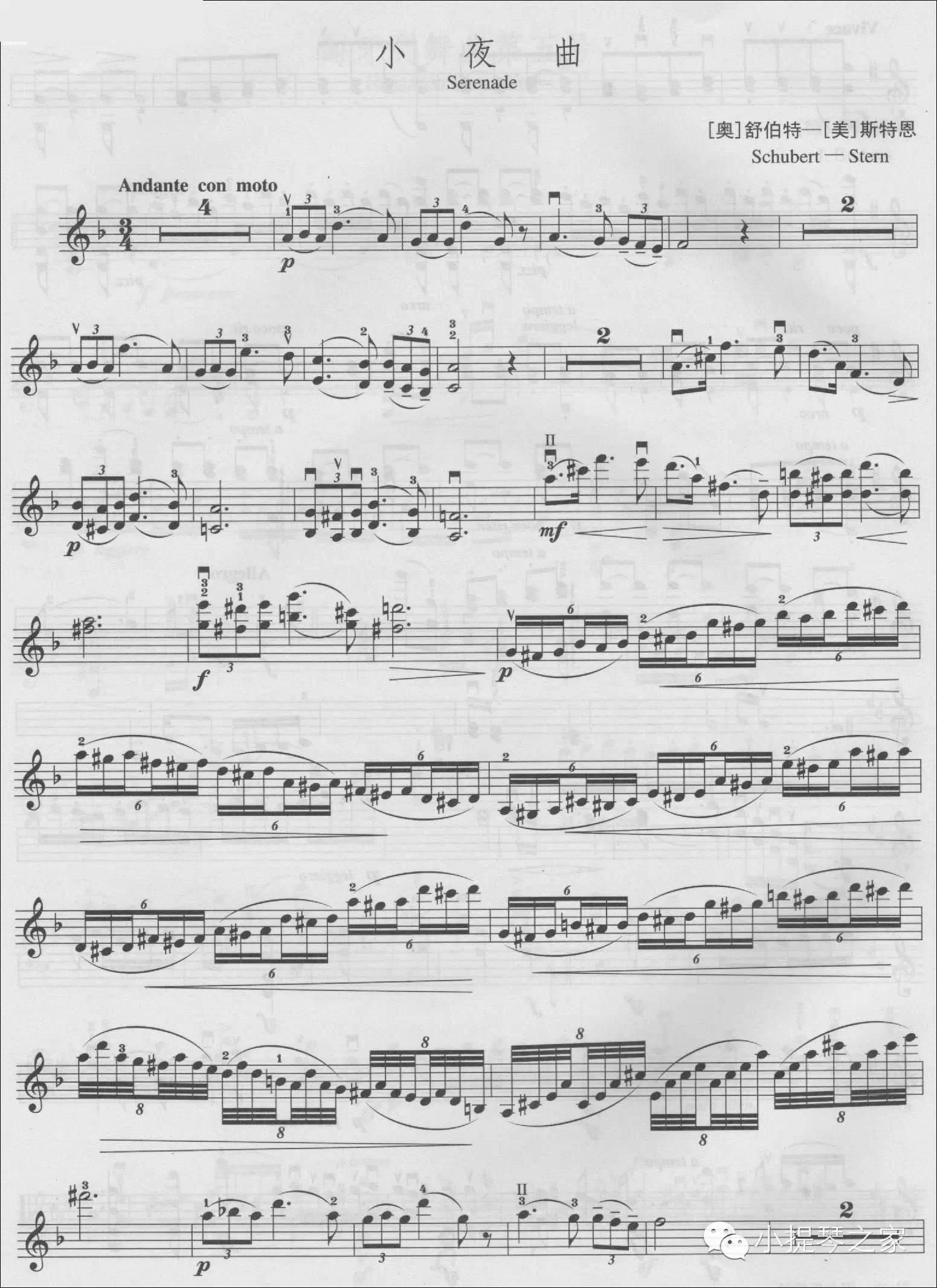 小提琴:《小夜曲(serenade)》附乐谱-舒伯特