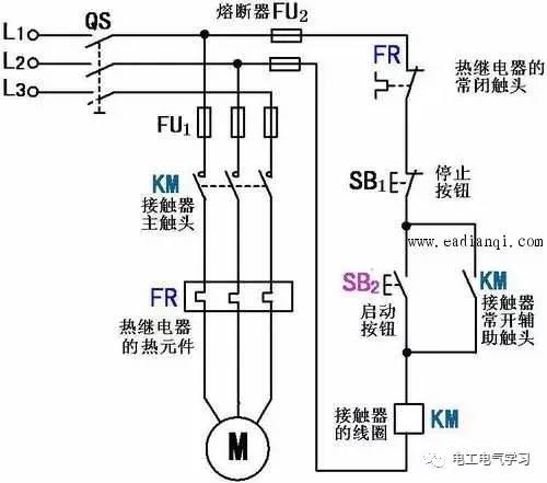 三相异步电动机自锁控制线路工作原理图解图片