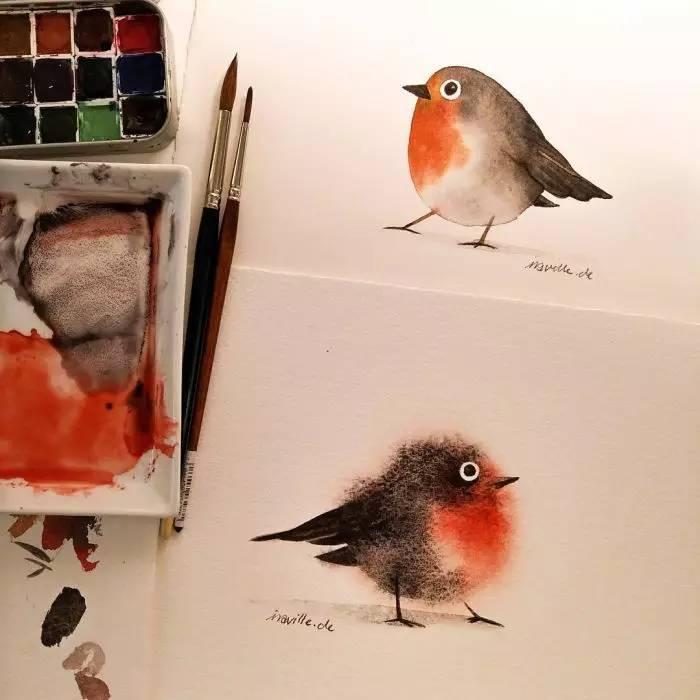 如何用水彩画一只毛茸茸的可爱小鸟