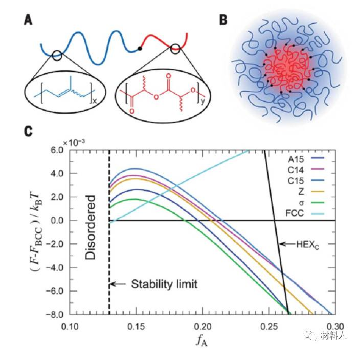 (A)PI(聚酰亚胺)和PLA(聚丙交酯)的化学结构以及不对称二嵌段共聚物的形成示意图。 (B)胶束颗粒形成示意图。 (C)Frank-Kasper相相对于BCC相SCFT自由能的差异。 图2 Frank-Kasper相的结构成分