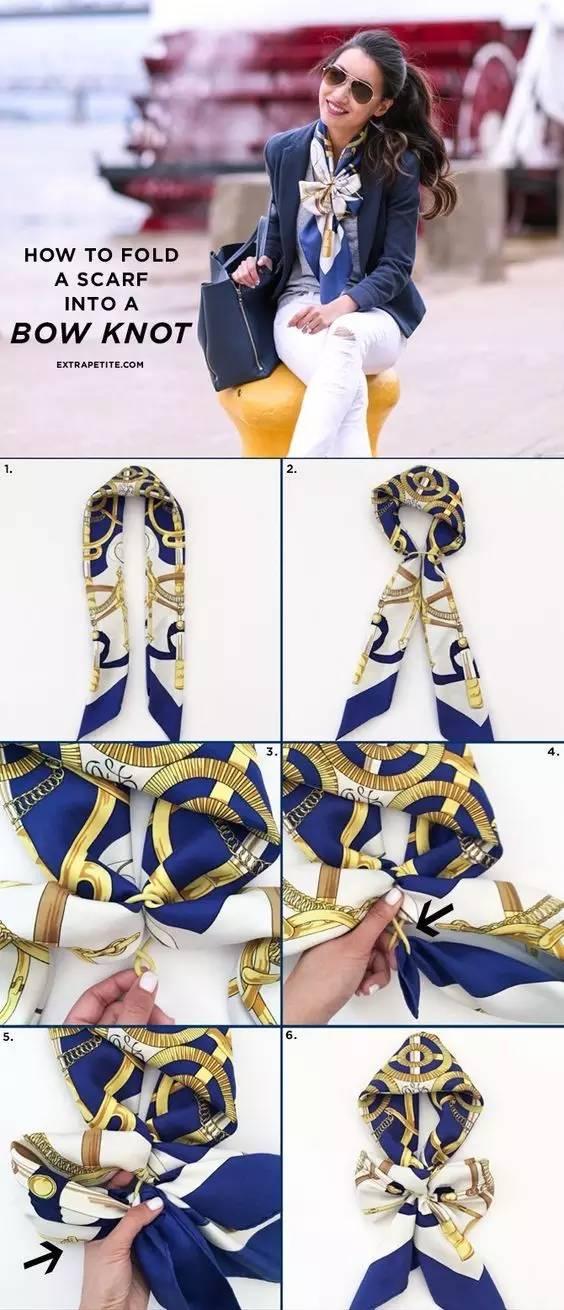 而想要让基础款锦上添花 一条方巾 2 长丝巾    长丝巾搭配法图片