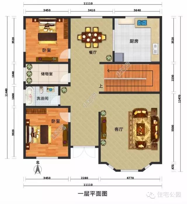 7平方米 户型九 长x宽:12.5x11.1米 建筑面积:227.
