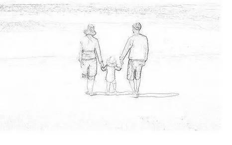 父母背影手绘图案