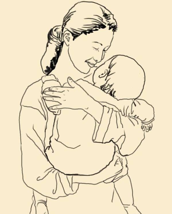 母爱背孩子手绘画