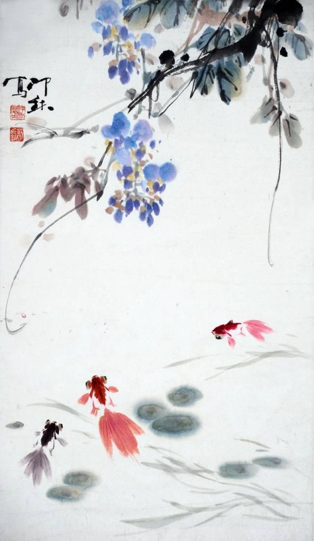 藤萝金鱼图