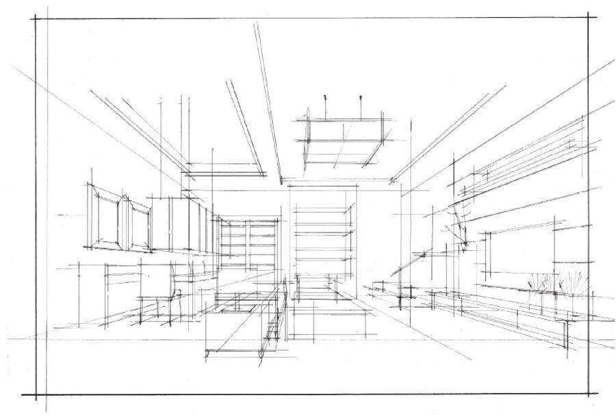 微角透视兼具一点透视和两点透视的优点,画面既宽阔,舒展,又有一定的