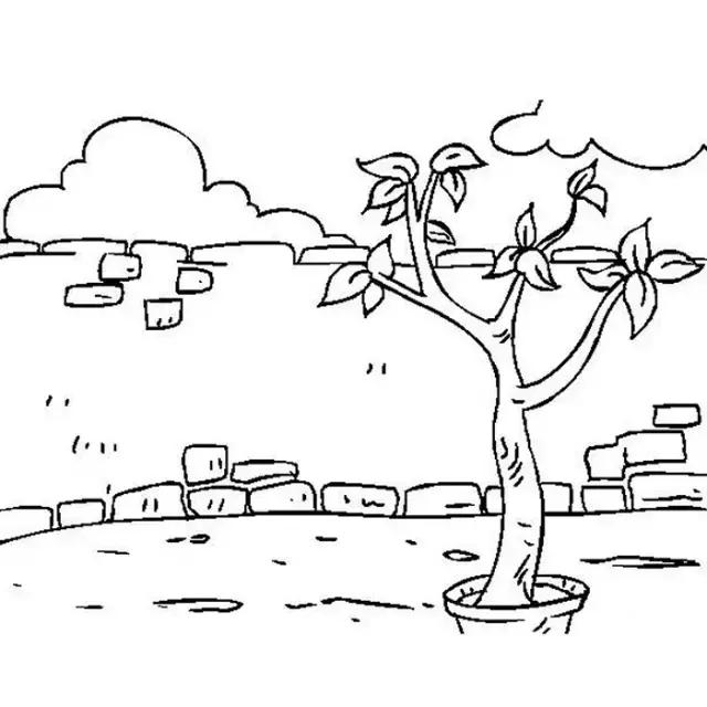 风景简笔画院子里的小树简笔画 简笔画 故事中国