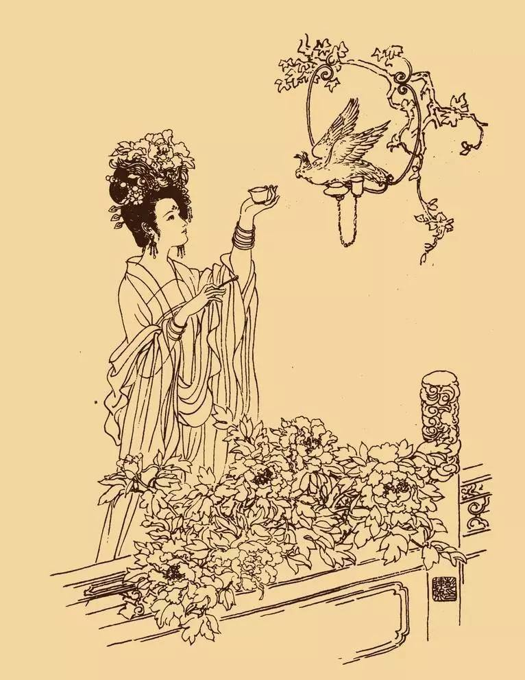 古装贵妃铅笔画手绘