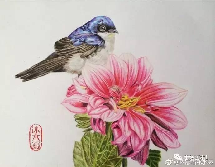【手绘彩铅】临的不错,好一个鸟语花香呀