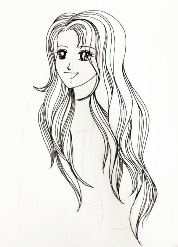零基础学简笔画 少女的头发这样画