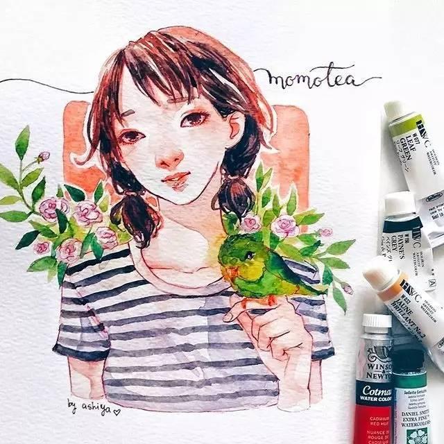 水彩手绘森系短发女生