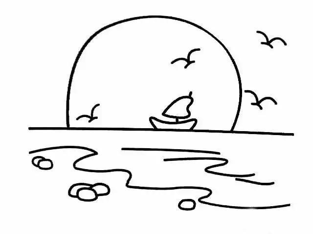 儿童简笔画风景图片-日出简笔画