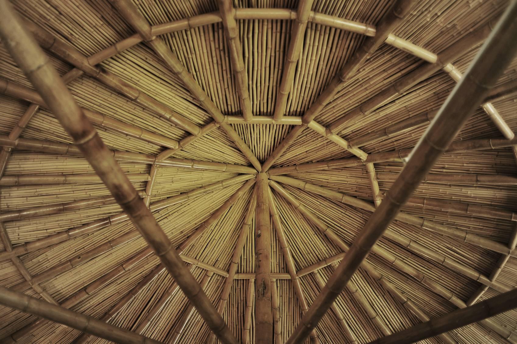▼竹结构屋顶构造 竹子,竹梢与夯土相互映衬, 使裸心小馆具有一种