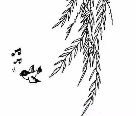 春天风景简笔画带颜色】欢乐的春天风景简笔画