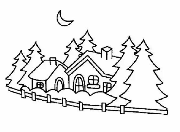 雪地中的房子简笔画怎么画 房子简笔画 亲子简笔画大全