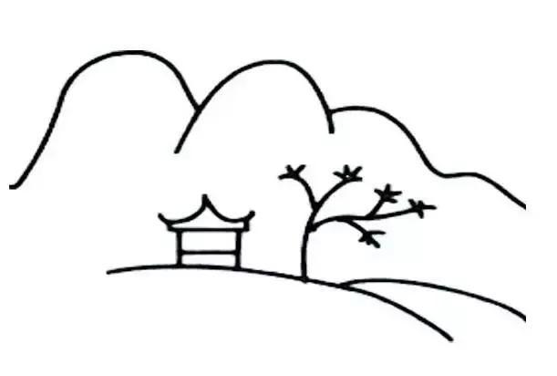 秋天风景简笔画图片